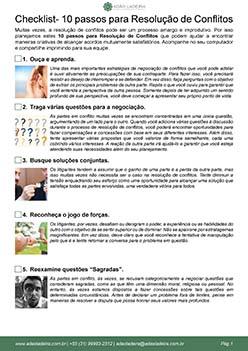 Checklist -10 passos para Resolução de Conflitos